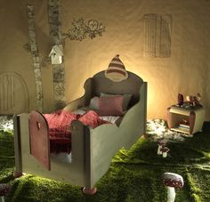 fabulous kids room with a gnome or elf theme - adorable bed with door Fairy Bedroom, Girls Bedroom, Fairytale Room, Deco Design, Kids Corner, Room Themes, Kid Spaces, Kid Beds, My New Room
