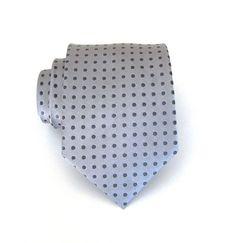 Mens Necktie Gray Dot Silk Necktie (Jeremy)