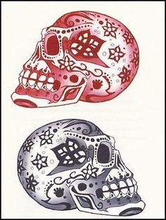 """Pink & Black Day of Dead Skulls Temporaray Tattoo by Tattoo Fun. $3.95. This is a Temporary tattoo of two day of the dead sugar skulls one black and white and the other red. Each image measures approx 1 3/4"""" long x 2 1/4"""" wide."""