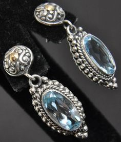 New Greg Anthony Bali Sterling Silver 18K Gold Blue Topaz Bead Dangle Earrings #GregAnthony #DropDangle