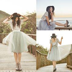 Alexandra Grecco Raleigh Blouse   Ivory, Alexandra Grecco Gretta Tulle Skirt   Dusty Blue