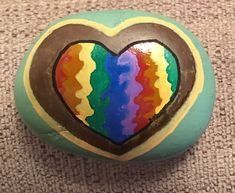 Playing with color in a heart. (08/07/2021) Kindness Rocks, Paint Pens, Giving, Painted Rocks, Concept, Rock Painting, Artist, Crafts, Color
