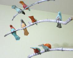 Oiseaux suspendus mobiles - bleu / Orange / gris oiseaux - fabriqués sur commande