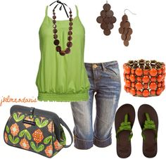 """Brown, Green & Burnt Orange"" by jklmnodavis ❤ liked on Polyvore"