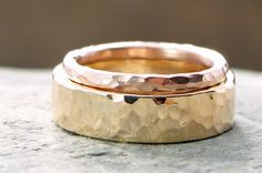 artisan hammered rustic wedding band set in 14k yellow and rose gold by TheSpiralRiver