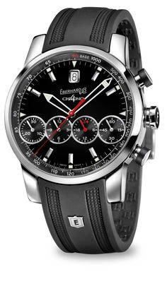 Chrono 4 Grande Taille ref. 31052.2 Mechanical automatic winding chronograph, steel, domed sapphire glass anti-reflective, screw-in crown with rubber insert, push-buttons with lateral rubber insert, caseback fixed by 8 screws, rubber or crocodile strap steel buckle - 19 mm.