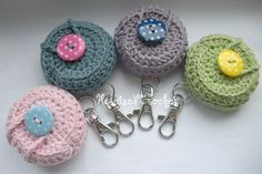 Crochet Lip Balm Holder Keychain Round for Vaseline Tin (one) Keyring. $7.50, via Etsy.