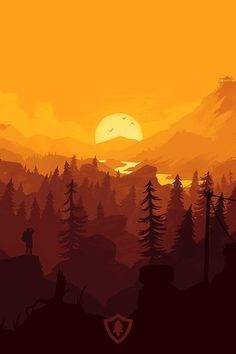 Firewatch Wallpaper : The beauty of the forest is yours to protect and so are these Firewatch wallpap Fantasy Landscape, Landscape Art, Cellphone Wallpapers, Minimalist Wallpaper, Photos Voyages, Art Background, Web Design Inspiration, Art Plastique, Flat Design