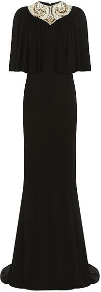 Alexander Mcqueen Embellished Cape Gown - Lyst