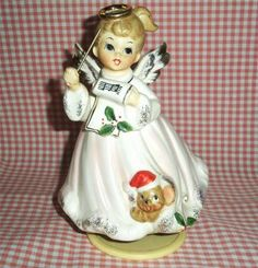 RARE Vintage Josef Originals Christmas Angel Music Box Musical Figurine w Mouse | eBay