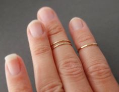 3 midi Rings  2 Notched Midi Rings and 1 Hammered by bluebirdss, $28.00
