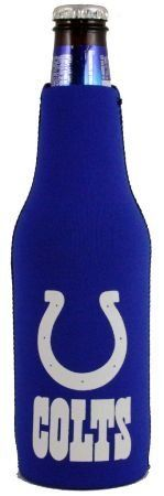 "INDIANAPOLIS COLTS NFL BOTTLE SUIT KOOZIE COOZIE COOLER by Kolder. $3.99. PRODUCT DESCRIPTION: Bottle Suit TM - Made from 3 mm neoprene ""wetsuit"" rubber, Kolder's Bottle Suit keeps your drink cold! Features include a full glued-in bottom and easy pull zipper. Insulates 12-ounce bottles. *Fits 12 oz. bottles *MSRP $7.99 *This auction is for (1) koozie"
