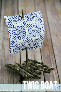 Twig Boat DIY - easy craft to do with the kiddos, uses just 2 Charm Squares & some Phoomph...and of course, lots of twigs :)