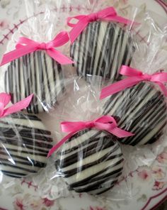 Pink Zebra Chocolate Covered Oreo Double Stuff Vanilla Cream Oreos are hand dipped & smothered in smooth white chocolate and drizzled with black chocolate