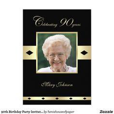 90th Birthday Party Invitation -- Photo 90th
