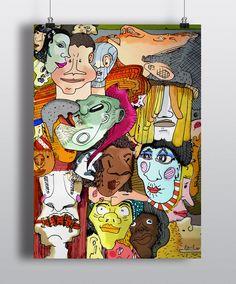 Face to face // Poster.         #Illustration #ilustración #design #diseño #color #cara #face #people #world
