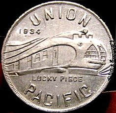 1933-1934 Union Pacific Railroad Good Luck Token. Chicago World's Fair