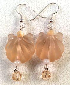 Lampwork Glass Peach Clam Shell Earrings, Peach Glass Earrings, Clam Shell…
