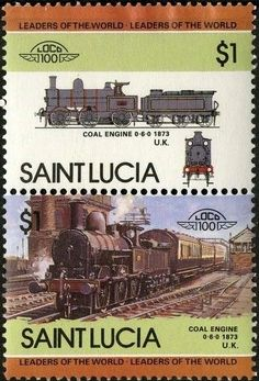 Stamp: Coal engine, 1873, U.K. (Saint Lucia) (Locomotives) Mi:LC 722-723,Sn:LC 716,Yt:LC 714-715