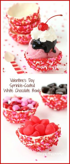 Sprinkle-Coated White Chocolate Bowls made using a mold, not a balloon, can be filled with your favorite ice cream, mousse, pudding, or candy for Valentine's Day. See how easy they are to make at HungryHappenings.com.