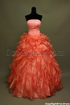 1st-dress.com Offers High Quality Puffy Coral Pretty Quinceanera Dress IMG_6819,Priced At Only US$235.00 (Free Shipping)