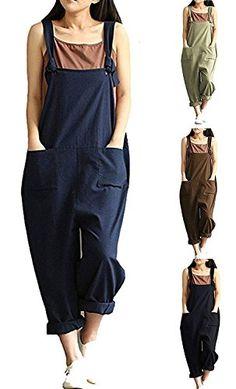 87cd10c26343 Damen Retro Baggy Latzhose Taschen Lange Harem Playsuit Hose Lange Playsuit Jumpsuits  Overalls Trousers Bib Pants