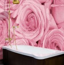 Romantic Bathroom Ideas ~Pink Roses in tile!