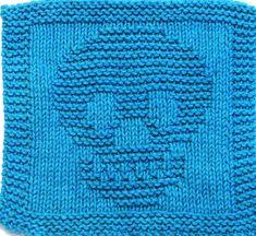 Ravelry: SKULL pattern by Ezcareknits Knitted Dishcloth Patterns Free, Crochet Skull Patterns, Knitted Washcloths, Crochet Dishcloths, Knitting Patterns Free, Knitting Ideas, Mittens Pattern, Knitting Kits, Crochet Granny