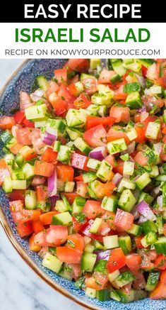 Israeli Salad is a must make Middle Eastern Recipe that is full of flavor! This side dish salad similar to Shirazi Salad (Persian Cucumber and Tomato Salad). Cucumber Recipes, Healthy Salad Recipes, Healthy Snacks, Vegetarian Recipes, Cooking Recipes, Vegan Vegetarian, Tomato Salad Recipes, Cucumber Tomato Salad, Chef Recipes