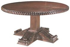 Doc Holliday Western Table Western Dining Tables - Round solid wood pedestal table with beautifully carved edge and legs.