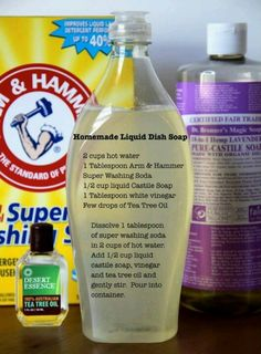 Homemade dish soap (similar recipe using bar soap instead of liquid castile soap: http://www.theprairiehomestead.com/2014/01/homemade-liquid-dish-soap.html)
