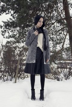 Object leather skirt, Vila leopard coat, Bianco black boots, H&M fussy sweater, Holzweiler silk scarf by Barbro Andersen #style #winteroutfit #braid