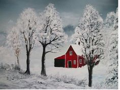 Paint And Sip, Christmas Paintings, Christmas Art, Tole Painting, Painting & Drawing, Watercolor Paintings, Barn Paintings, Acrylic Paintings, Winter Painting