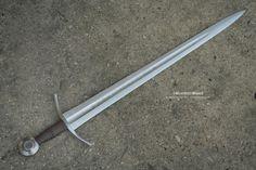 "14th century sword Type XIV Overall Length 36.6"" Blade Length 30.1"" Grip 3.7"" Blade Width 2.4"""