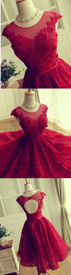 Beading homecoming dresses, lace Appliques bridesmaid dresses,A-line Short Prom Dresses,Backless… Red Bridesmaids, Red Bridesmaid Dresses, Lace Homecoming Dresses, Evening Dresses, Dance Dresses, Short Dresses, Formal Dresses, Formal Wear, Pretty Dresses