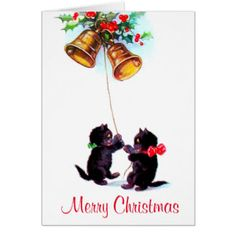 Vintage Funny Cats Christmas Bells Illustration Greeting Card