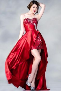 PRIMA C137667 Red Jeweled High Low Prom Dress