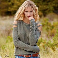 Feel good in this olive worn slit cold shoulder top! $59 Size Medium only #comfy #Elan #coldshoulder #olive