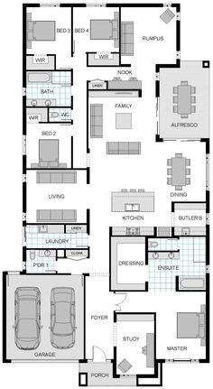 Hausplan Modern Hoke House Floor Plans Skylab The Plan Bedroom Australia Granny The Rope Hammock Art Floor Plan 4 Bedroom, 4 Bedroom House Plans, New House Plans, Dream House Plans, Modern House Plans, Small House Plans, Modern House Design, Master Bedroom Plans, The Plan