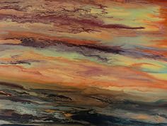 """Abstract Landscape-Blazing Sky-Reflected II by Kimberly Conrad Acrylic ~ 30"""" x 40""""#abstractlandscape#contemporarylandscape#sunsetpainting"""