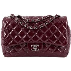 Pre-Owned Chanel Classic Single Flap Bag Quilted Crinkled Patent Jumbo (£2,355) ❤ liked on Polyvore featuring bags, handbags, burgundy, burgundy handbags, purple handbags, hologram purse, zip purse and preowned handbags