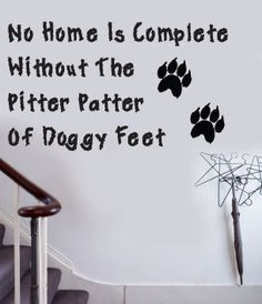 DOGGY FEET Dog Home Wall Quote Decal Sticker QU24 | eBay