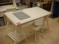 Ikea Desk With Lightbox. Homework Station Someday