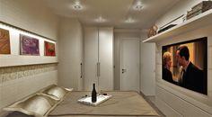 Dormitório Casal Branco e linho com cabeceira iluminada