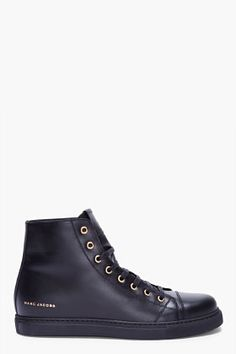 MARC JACOBS High-top Black Leather Sneakers