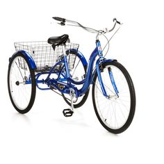 "26"" Schwinn Meridian Adult Tricycle, Blue - Hitch up a bike trailer and convert to food cart! $269"