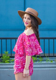 """Music Festival Outfits, Show Me Your Mumu Rosarita Romper in Pomegranate Punch, Dolce Vita """"Lyndon"""" Sandals, Boater Hat Outfit, Crosley Record Player, Cute Summer Outfit"""