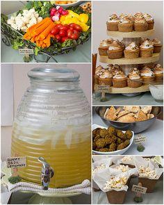 Honey Basil Lemonade, Pita pockets (Kanga's pouch), honey pot cake pops, bee hive cupcakes, hunny baked ham
