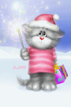 Kitty with Twinkling Star cute cat animated gif kitty christmas twinkle