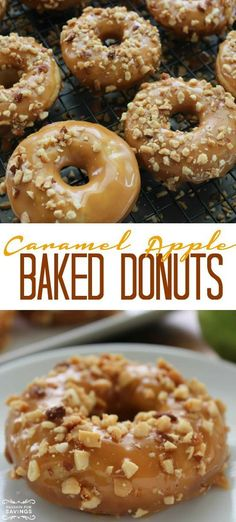 Baked Caramel Apple Donuts Recipe! Homemade Donuts for an easy breakfast or dessert recipe for Fall and Thanksgiving!